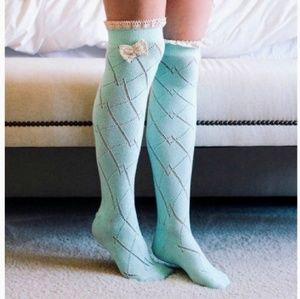 Thigh-High Crochet-Bow Socks